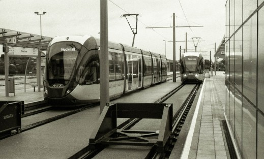 Whilst one tram leaves Toton Lane for Hucknall again, another one arrives.