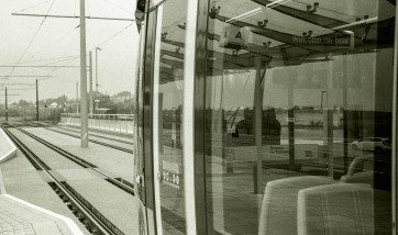 The tram preparing to leave for another journey.
